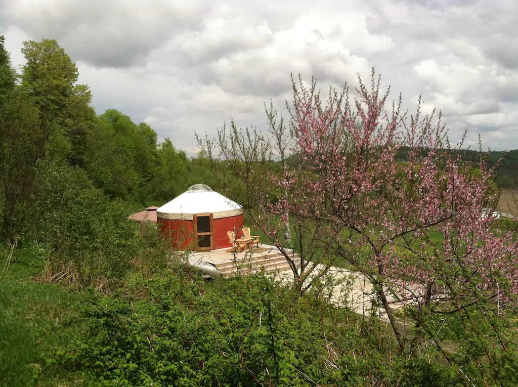 a yurt in a secluded field in Waterville, NY - photo source: Airbnb