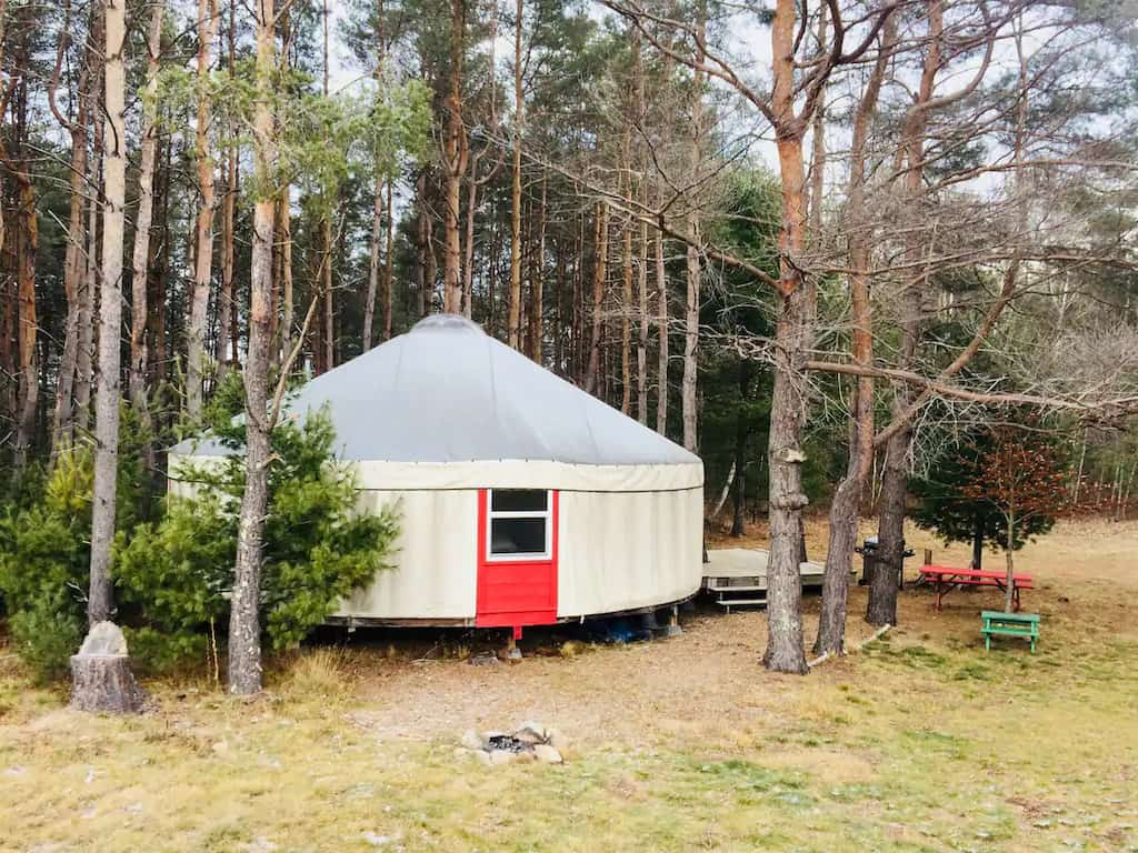 A yurt tucked away in the woods in the Adirondacks. Photo source: Airbnb