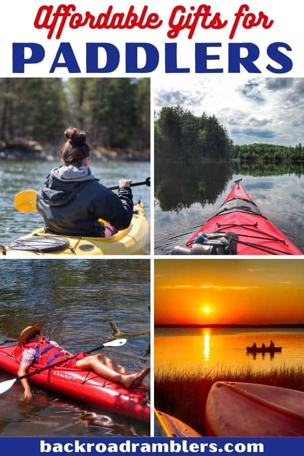 A collage of photos featuring canoes and kayaks. Caption reads: Affordable gifts for kayakers and canoeists