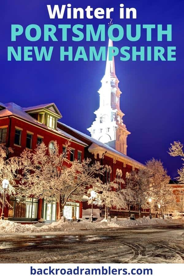 The North Church in Portsmouth NH. Caption reads: Winter in Portsmouth NH