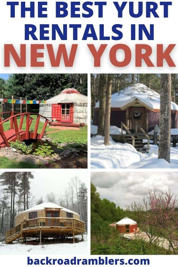 A collage of yurt rental photos in New York. photo credit: Airbnb