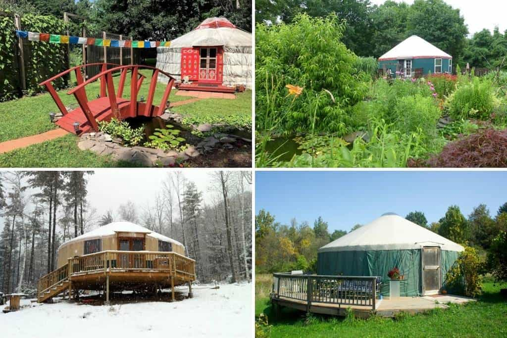 A collage of yurts in New York. Photo source: Airbnb
