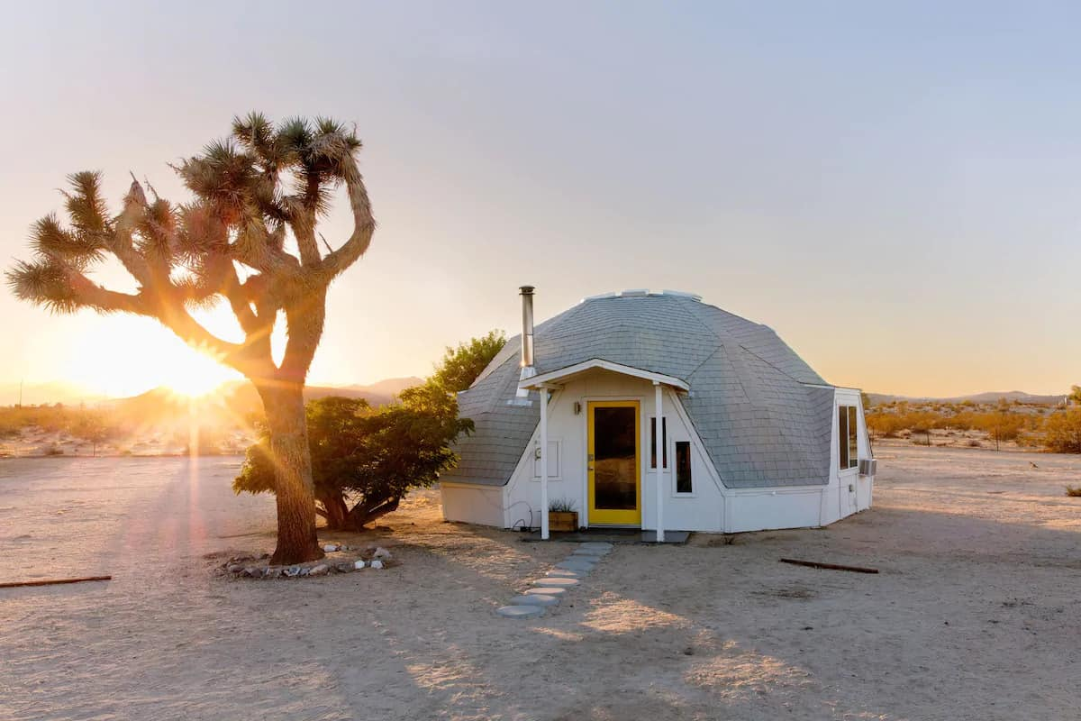 A glamping dome for rent in Joshua Tree. Photo credit: Airbnb