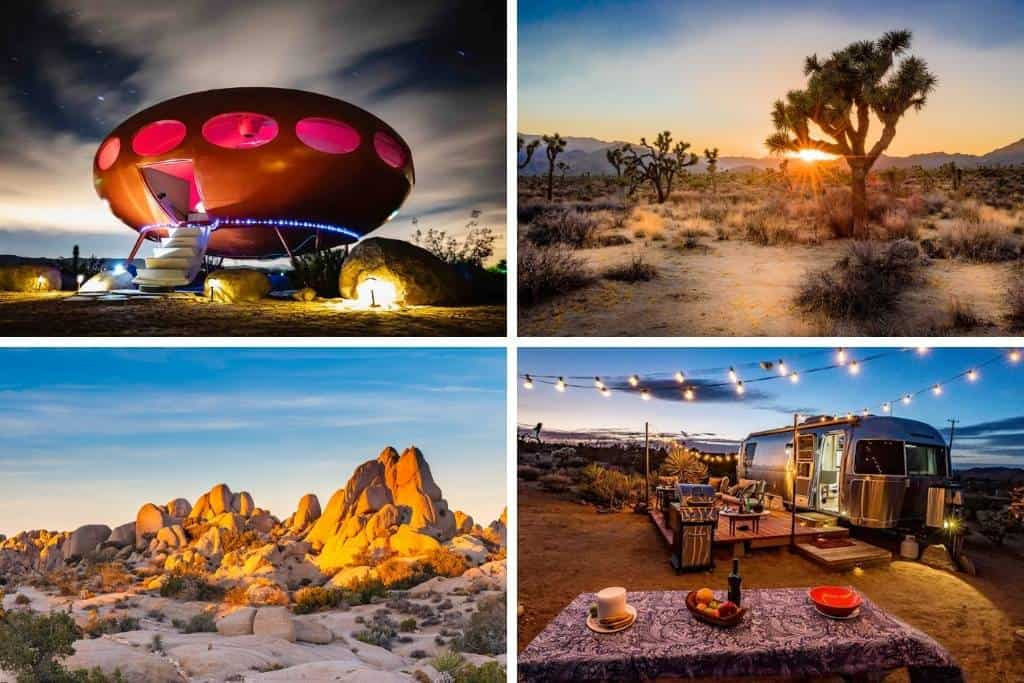 A collage of photos featuring Joshua Tree National Park and Joshua Tree glamping