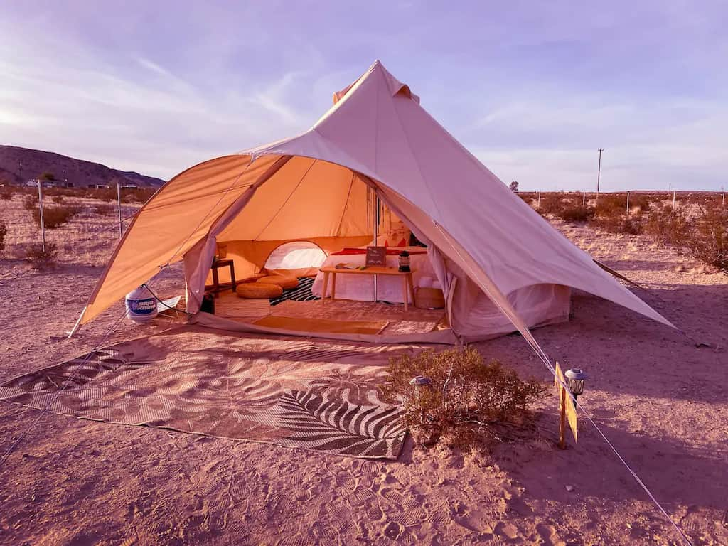 A glamping tent near Joshua Tree. Photo credit: Airbnb