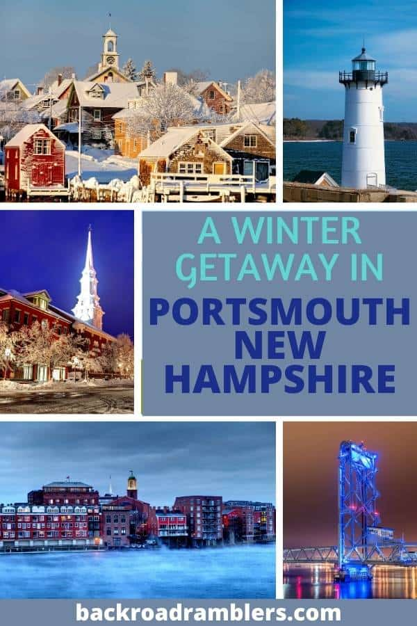 A collage of winter photos featuring Portsmouth NH