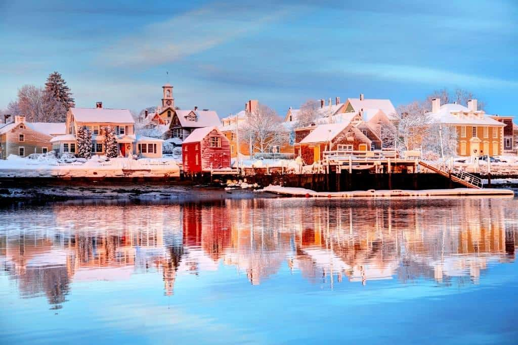 Portsmouth NH Harbor in the winter covered with snow.