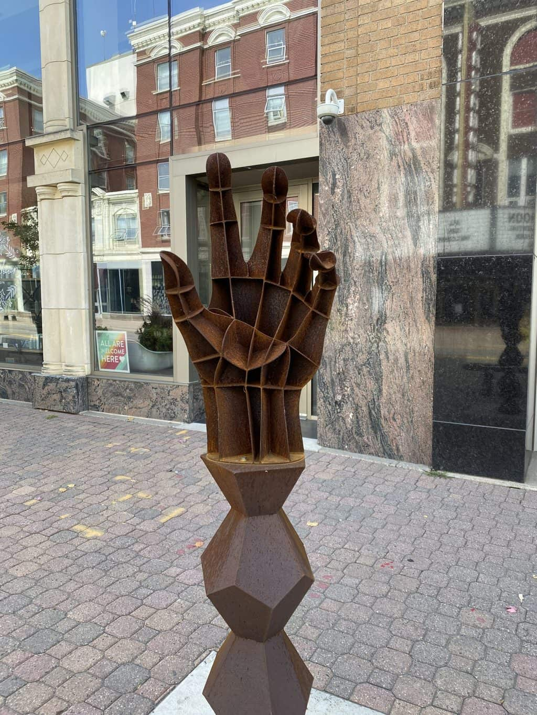 A hand sculpture near Lake George in St. Cloud MN