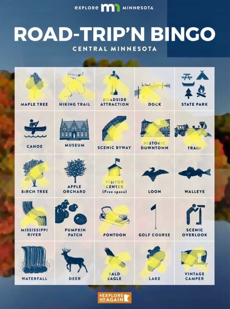 A bingo card featuring things to do in St. Cloud MN