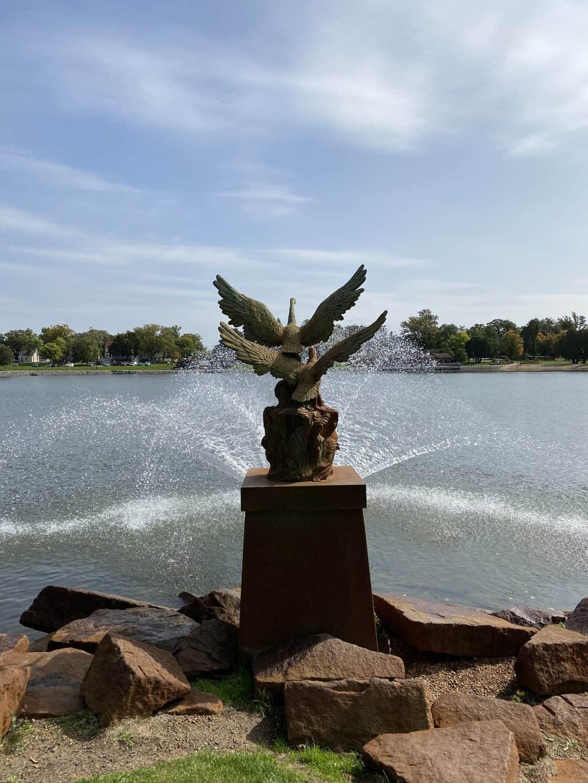 A sculpture/fountain near Lake George in St. Cloud MN