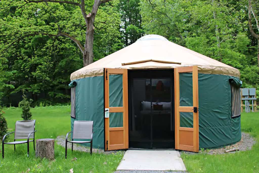 A yurt for rent in Himrod, New York. Photo source: Airbnb