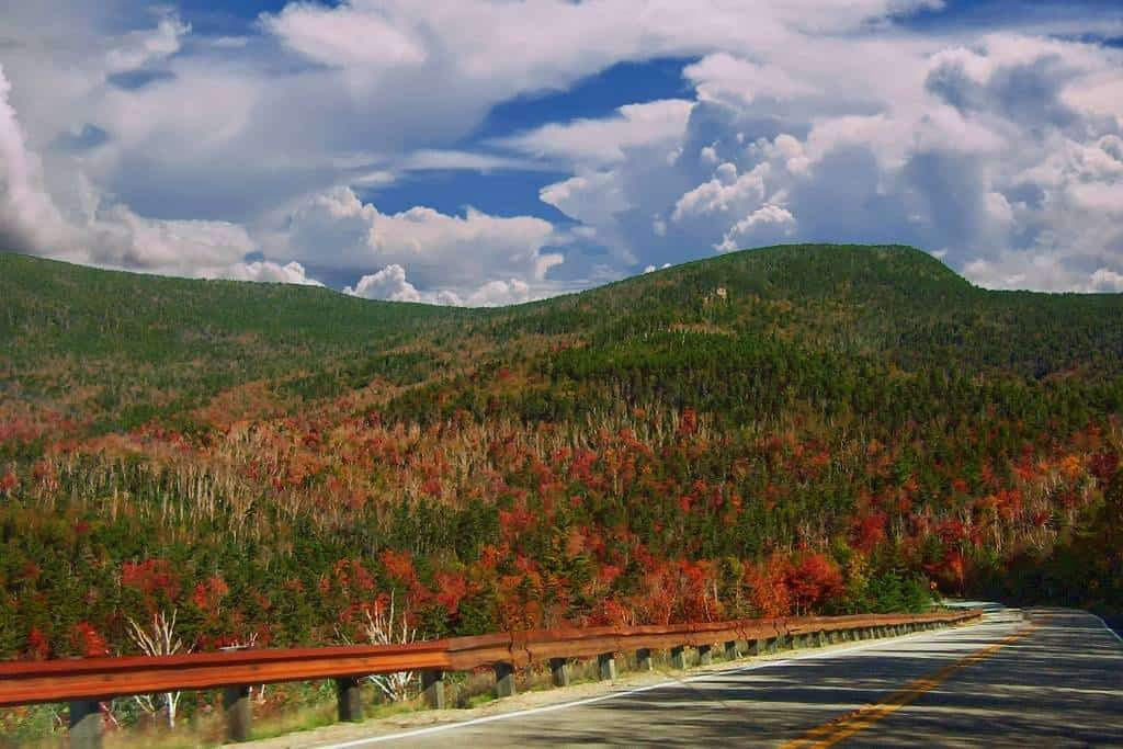A view of the Kancamagus Highway in New Hampshire during the fall