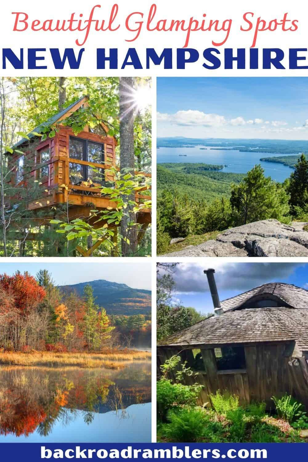 A collage of photos featuring New Hampshire glamping destinations