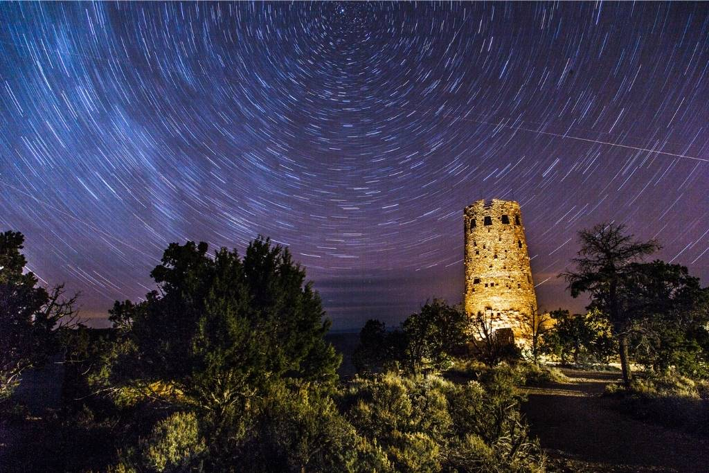 Star trails behind Desert View Watchtower in Grand Canyon National Park
