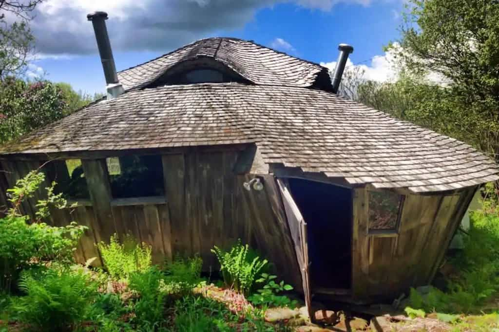 A wooden, solar-powered yurt for rent in Rindge, New Hampshire. Photo source: Airbnb