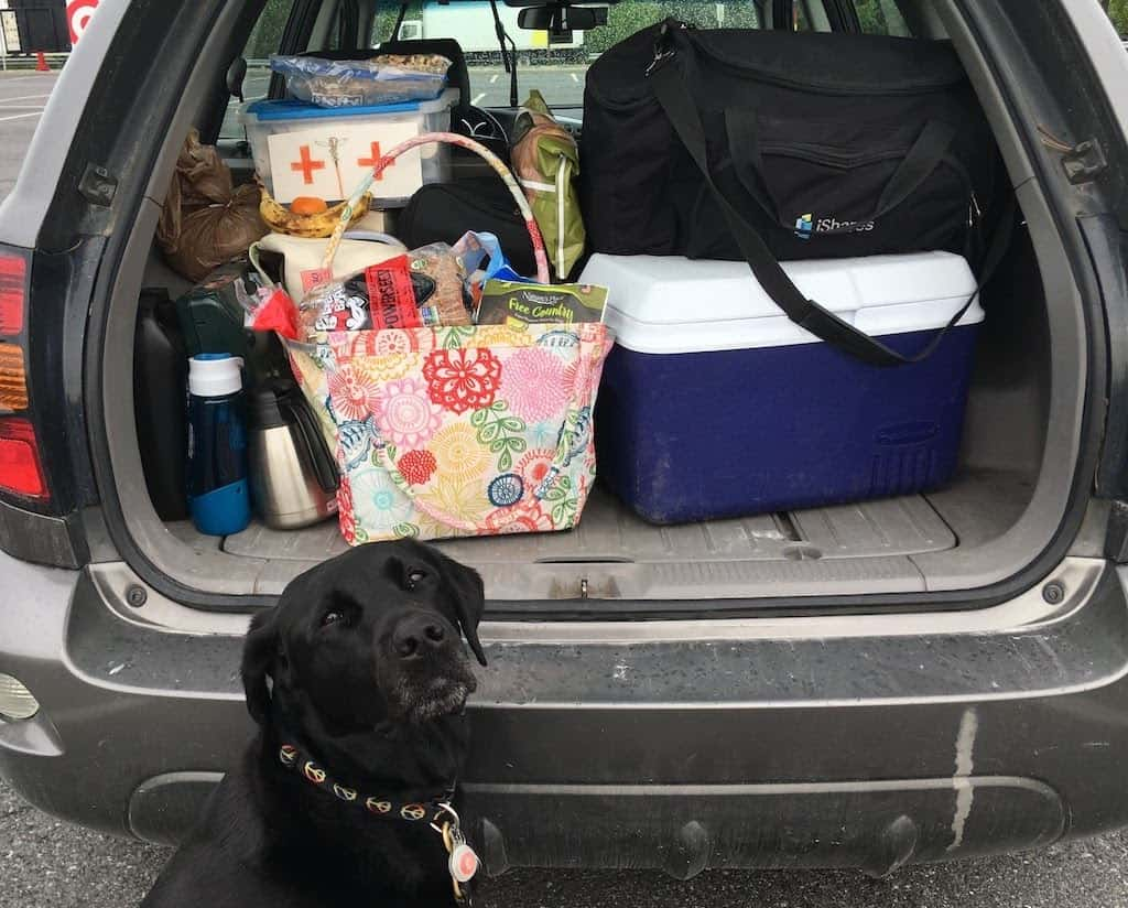 The trunk of a car full of luggage with a black dog sitting in front of it.