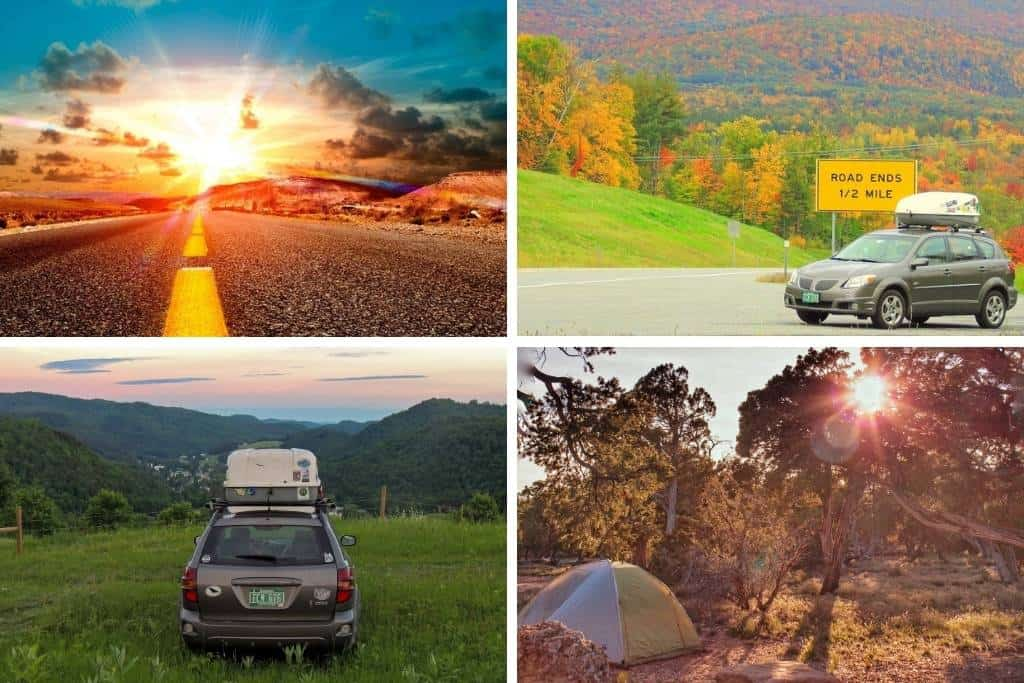 A collage of photos featuring road trips and small cars.