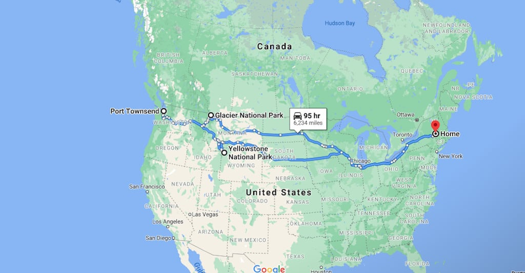 A screenshot of a Google Map showing a cross country road trip.