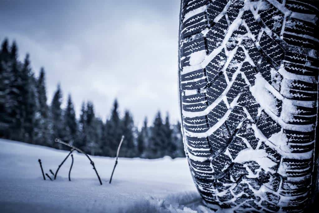 A snow-covered winter tire
