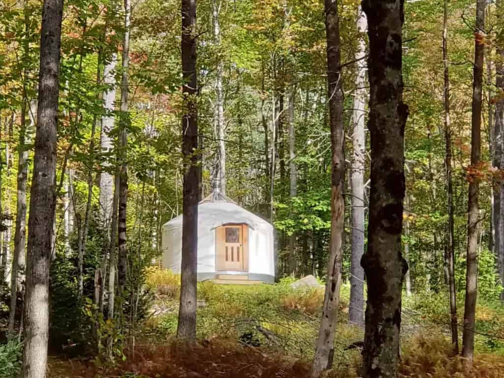 A yurt in the woods of New Hampshire. Photo source: Airbnb
