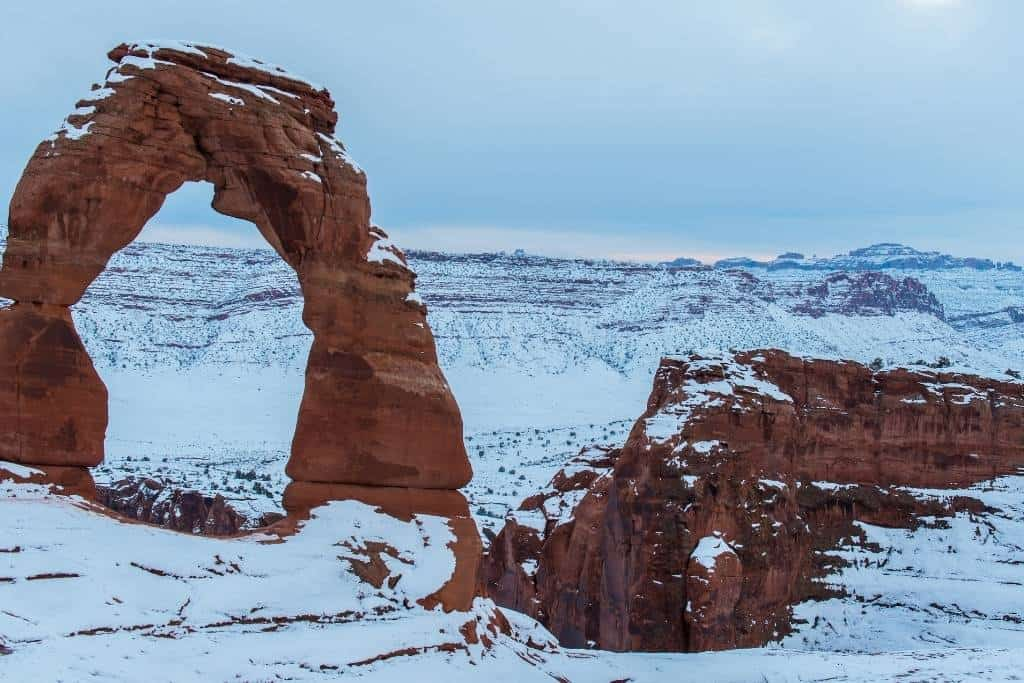 Delicate Arch in Arches National Park during the winter.