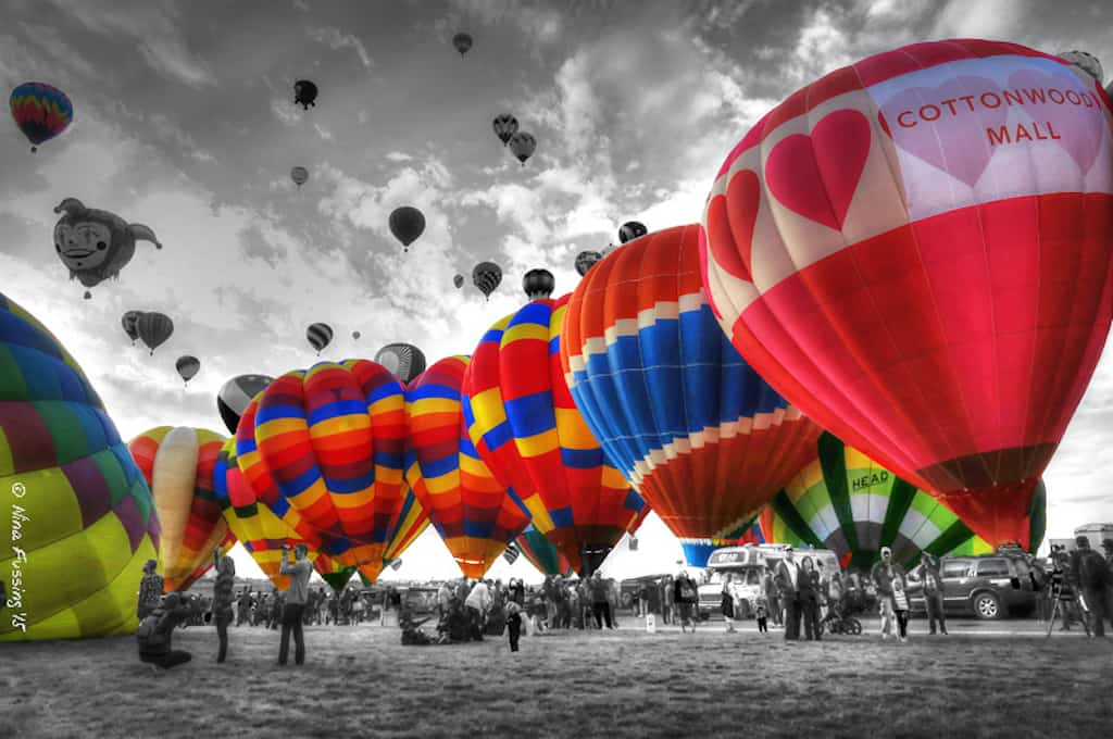 The Alburquerque International Balloon Festival from the ground. Photo credit: Nina of Wheelingit