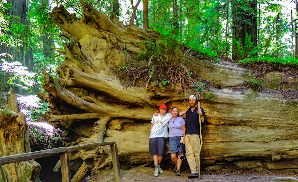 Our family leaning up against a Redwood tree in California.