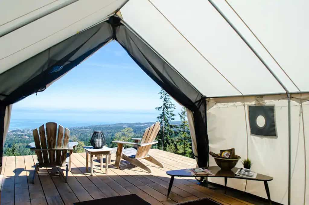 A glamping tent for rent near Olympic National Park.