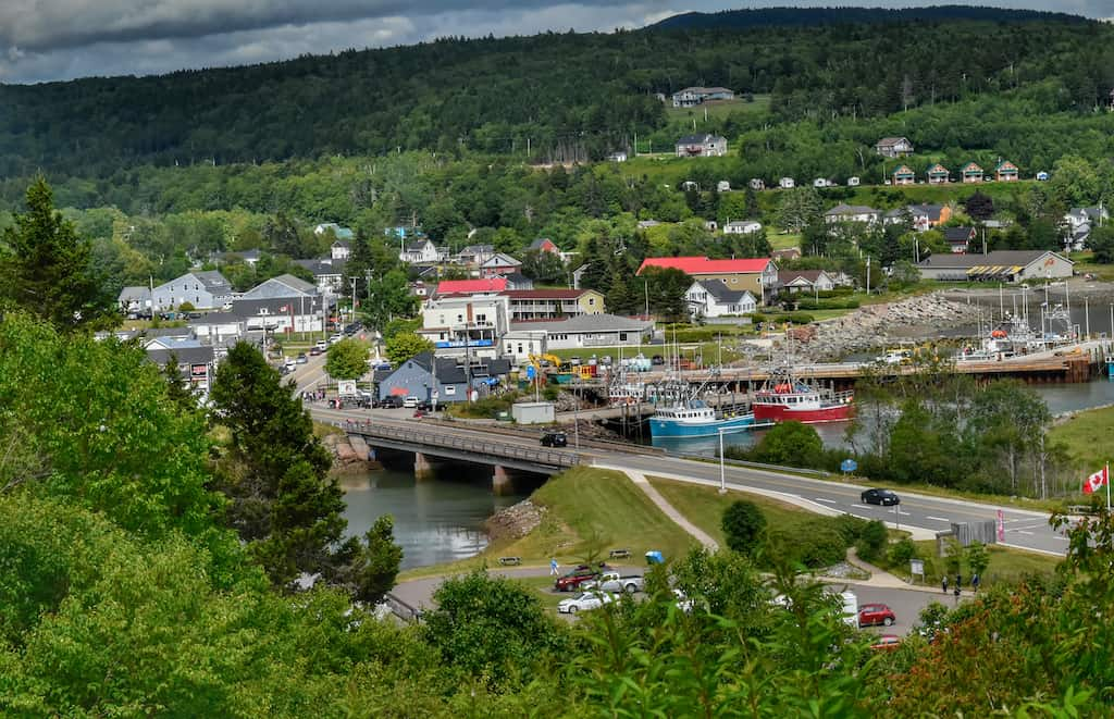 The town of Alma, New Brunswick as seen from Headwaters Campground in Fundy National Park.