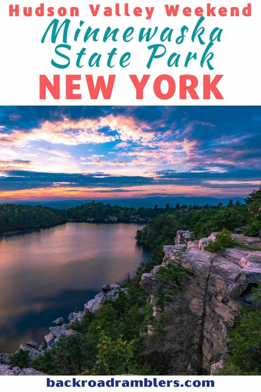 Sunset over Lake Minnewaska in Minnewaska State Park, New York.