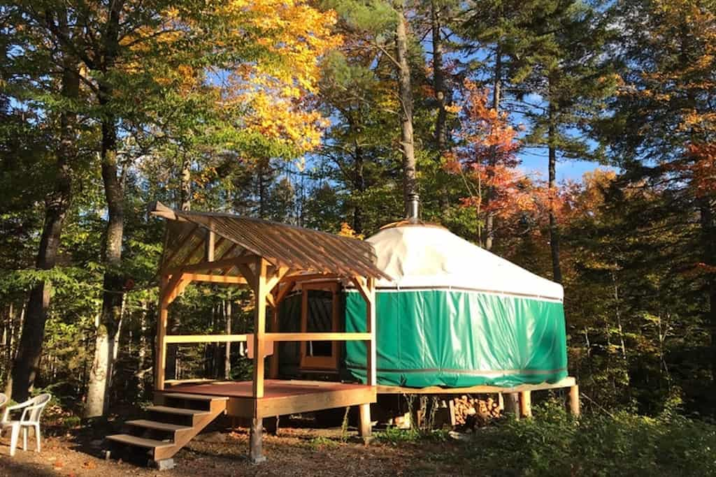 A Yurt in New Hampshire that is available for rent on Tentrr.