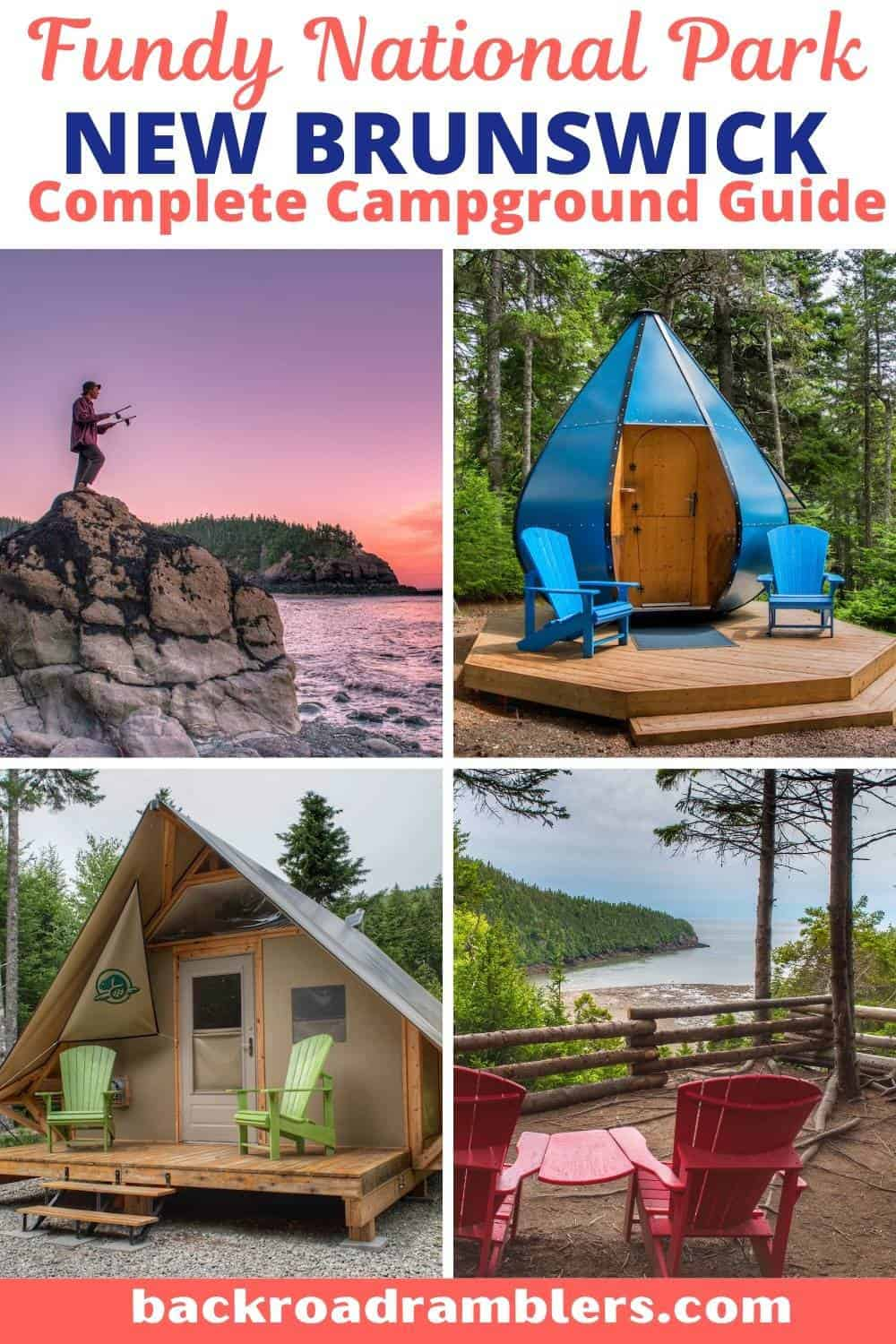A collage of photos featuring Fundy National Park. Text overlay: Fundy National Park camping guide