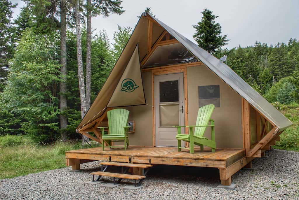 An oTENTik available for rent in Fundy National Park in New Brunswick, Canada.