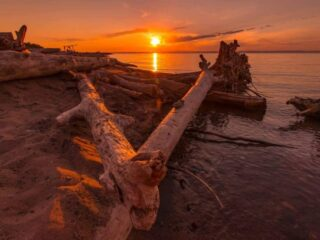 Sunset on the shore of Lake Superior in Michigan.