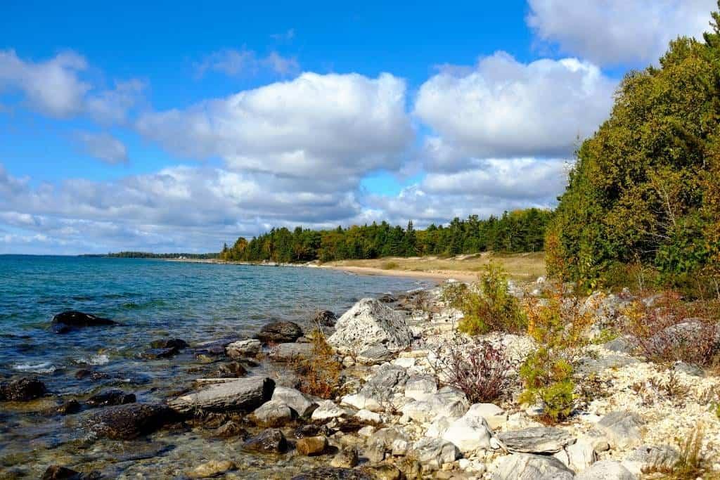 Negwegon State Park shoreline on Lake Huron.