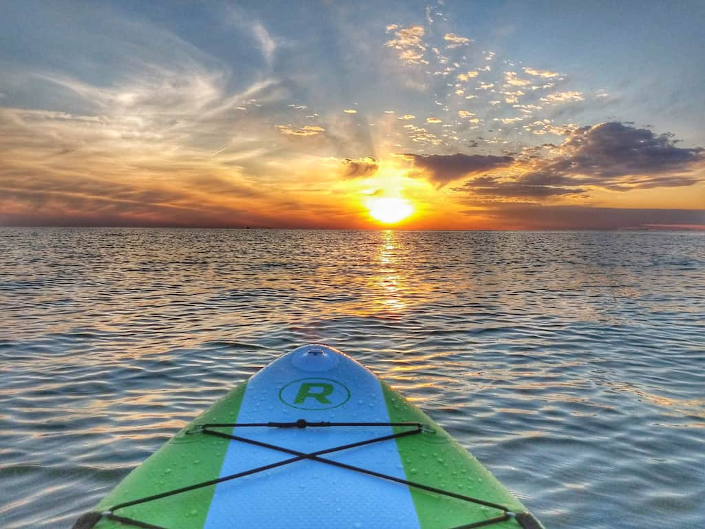 Paddleboarding on Lake Erie near Middle Bass Island during the sunset.