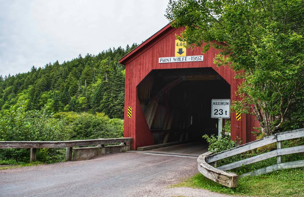 Point Wolfe covered bridge in Fundy National Park.