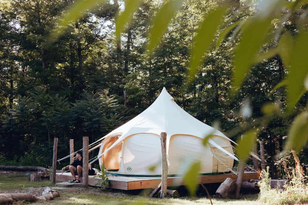 A glamping tent in Connecticut available for rent on Hipcamp. Photo credit: Hipcamp