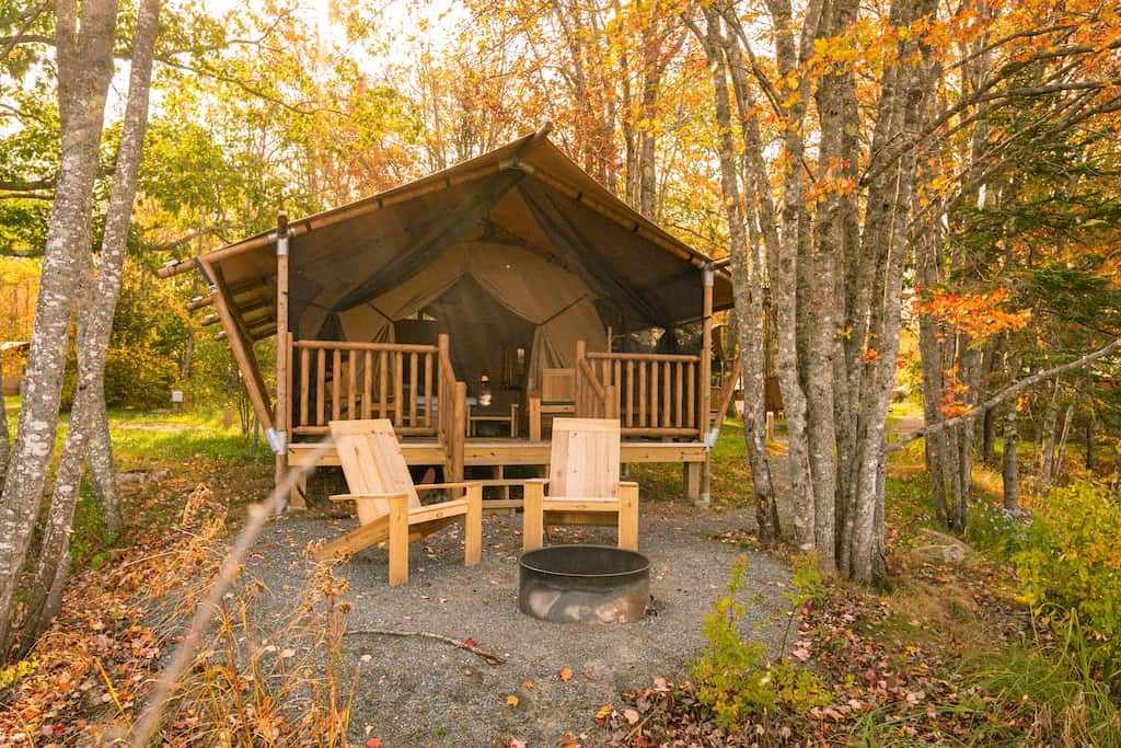 A glamping tent nestled in the woods near Bar Harbor, Maine. Photo credit: Terramor
