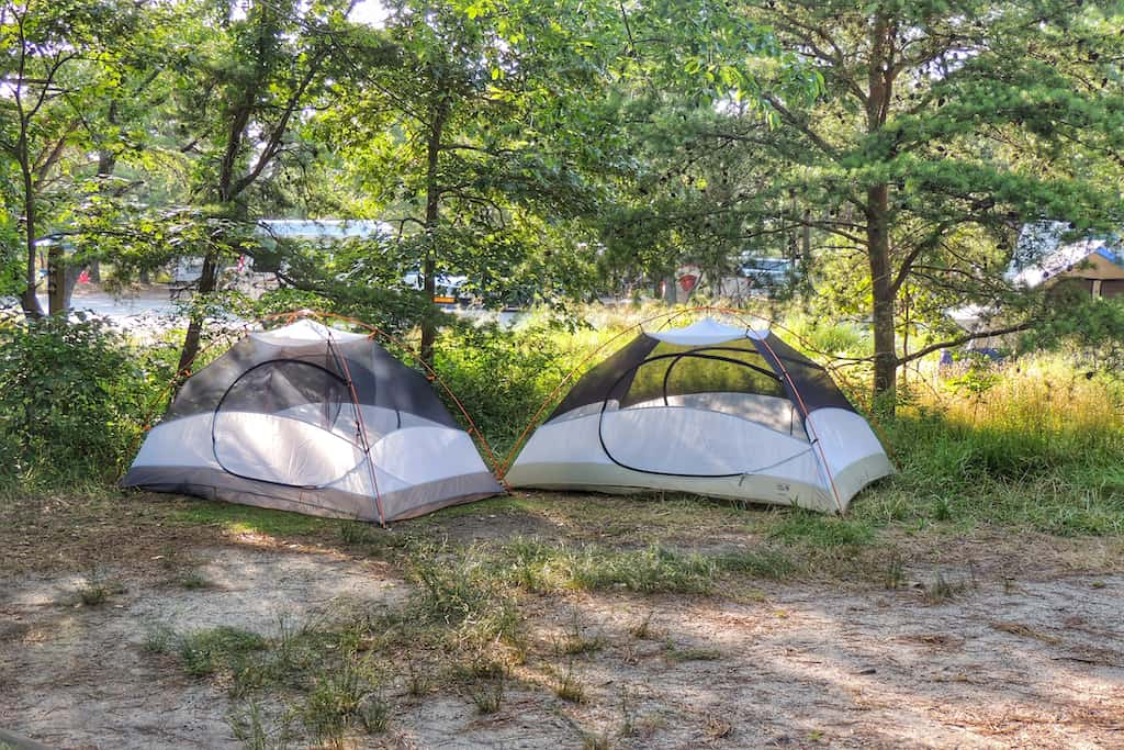 Two small tents set up under the trees at the Cape Henlopen State Park campground.