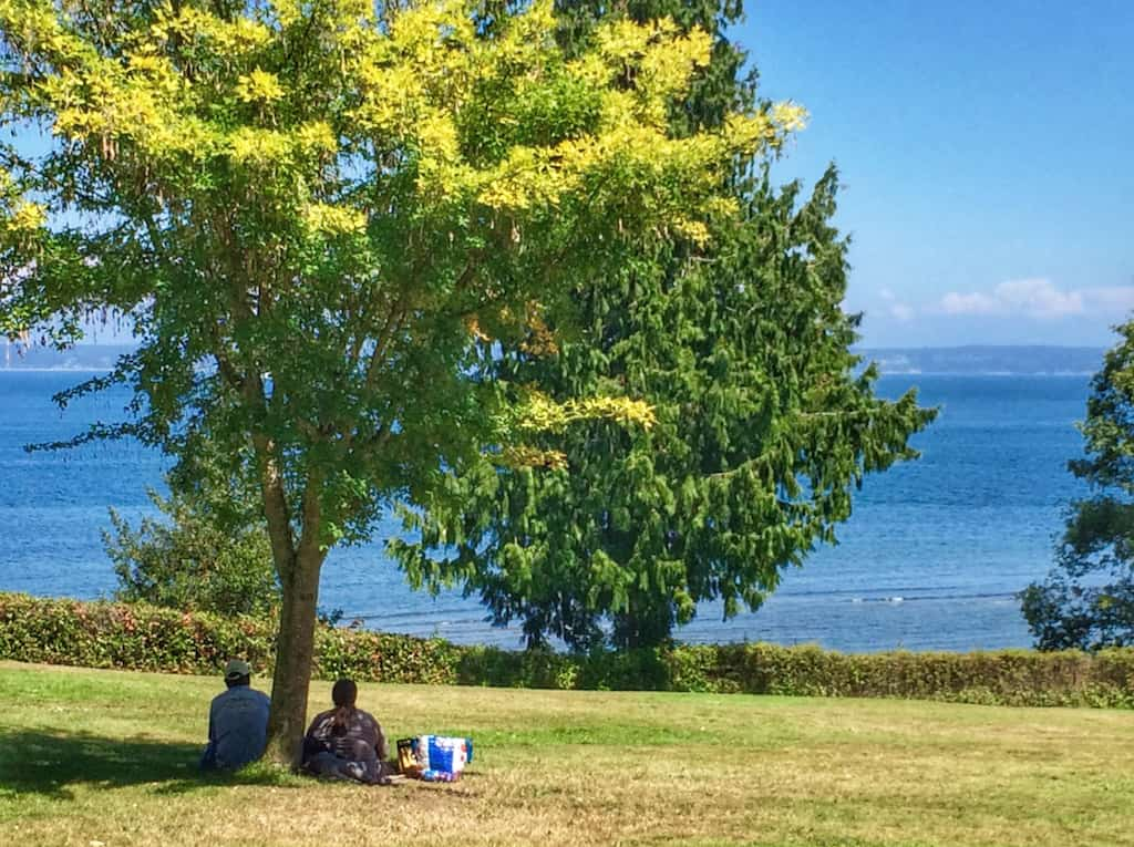 Two people sitting under a tree having a picnic in Chetzemoka Park in Port Townsend, Washington.