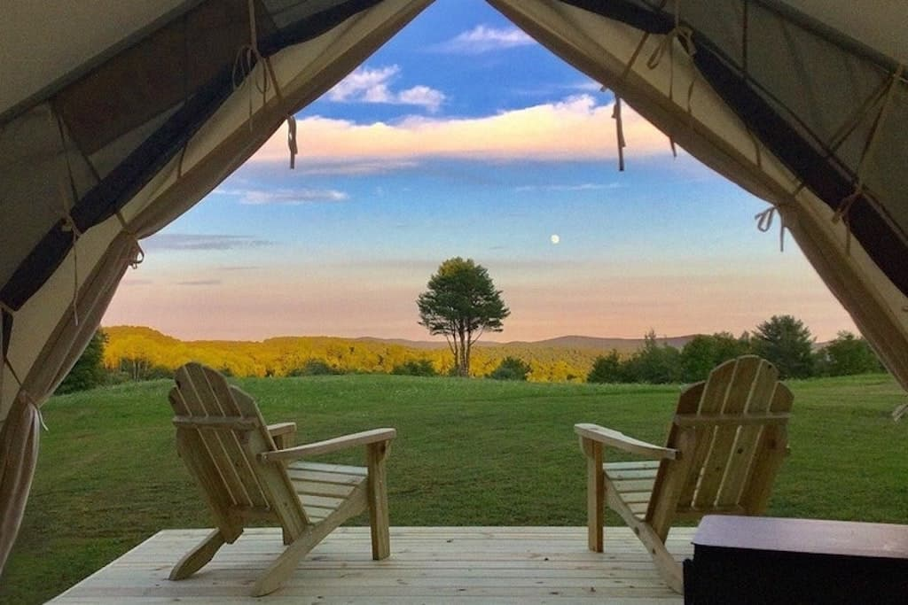 The view from a glamping tent in Vermont. Photo credit: Tentrr