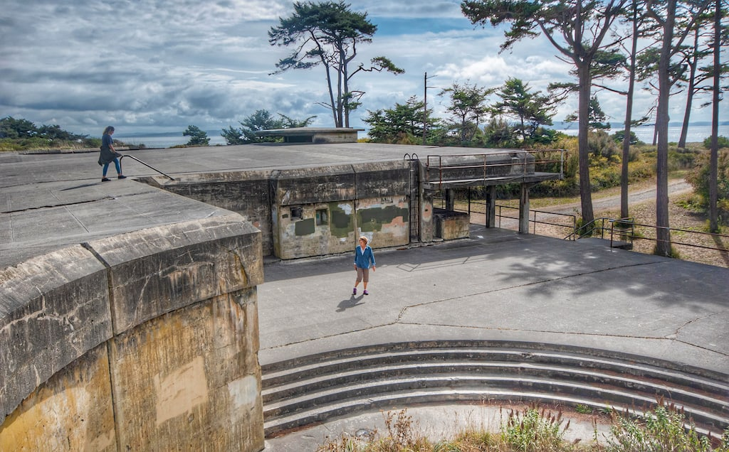 The abandoned bunkers at Fort Worden State Park in Port Townsend, Washington.