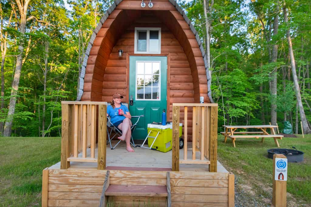 Tiny cabins for rent in Roanoke, Virginia at Explore Park.