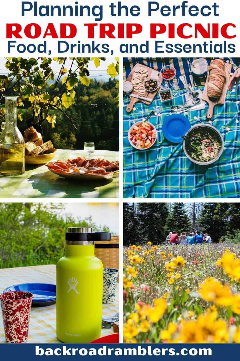 A collage of picnic photos. Text overlay: Planning the perfect road trip picnic - food, drinks, and essentials.