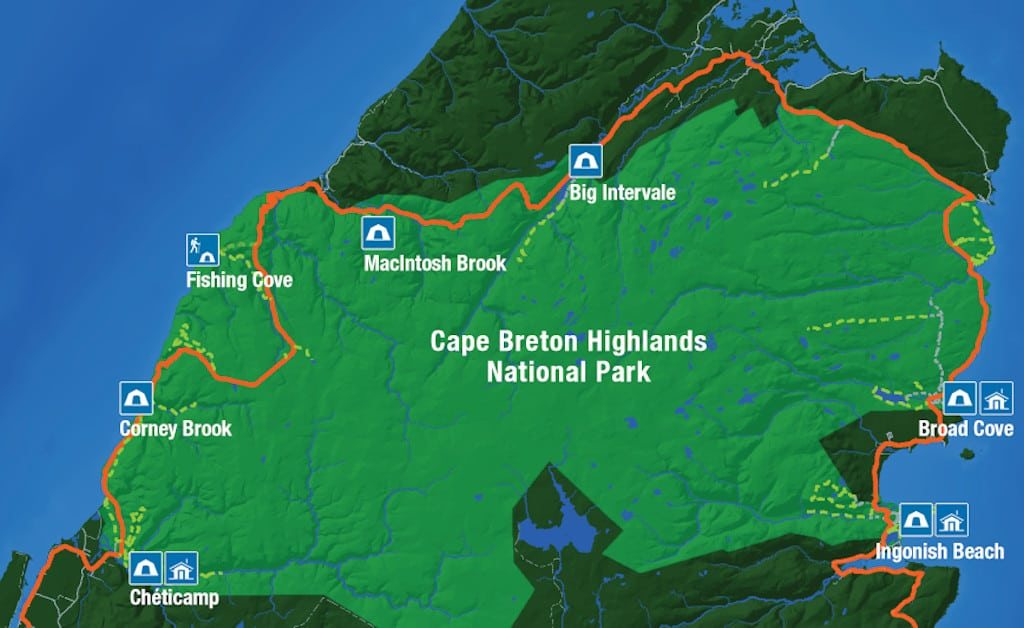 A map of all the campgrounds in Cape Breton Highlands National Park.