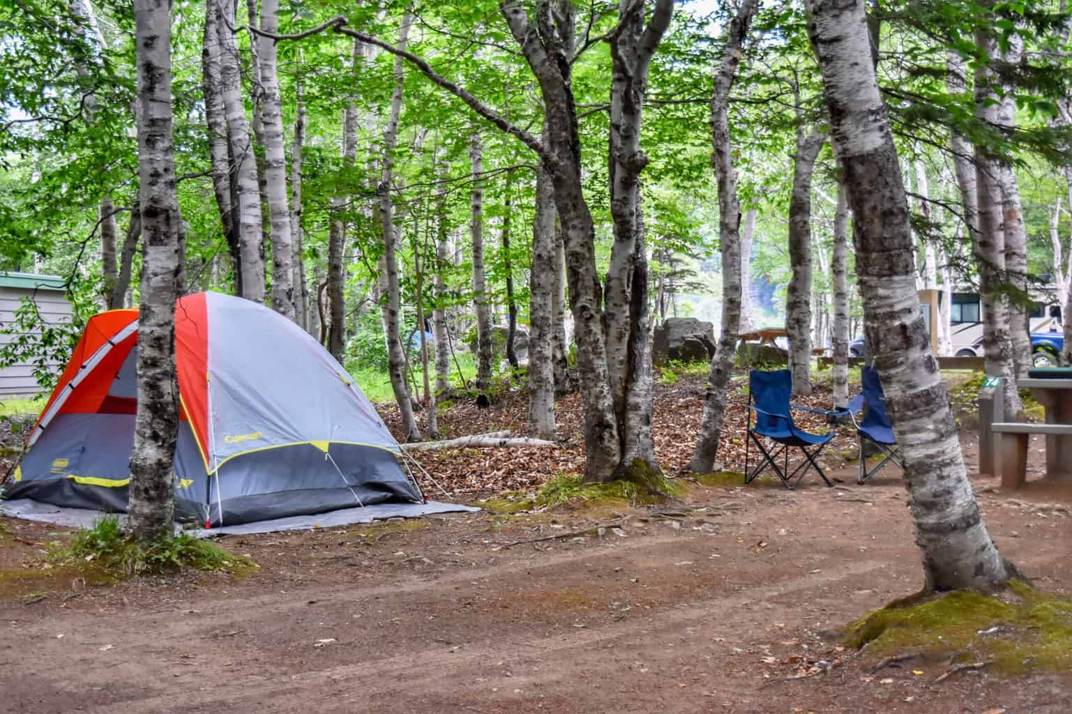 A tent in Cheticamp Campground in Cape Breton Highlands Naitonal Park.