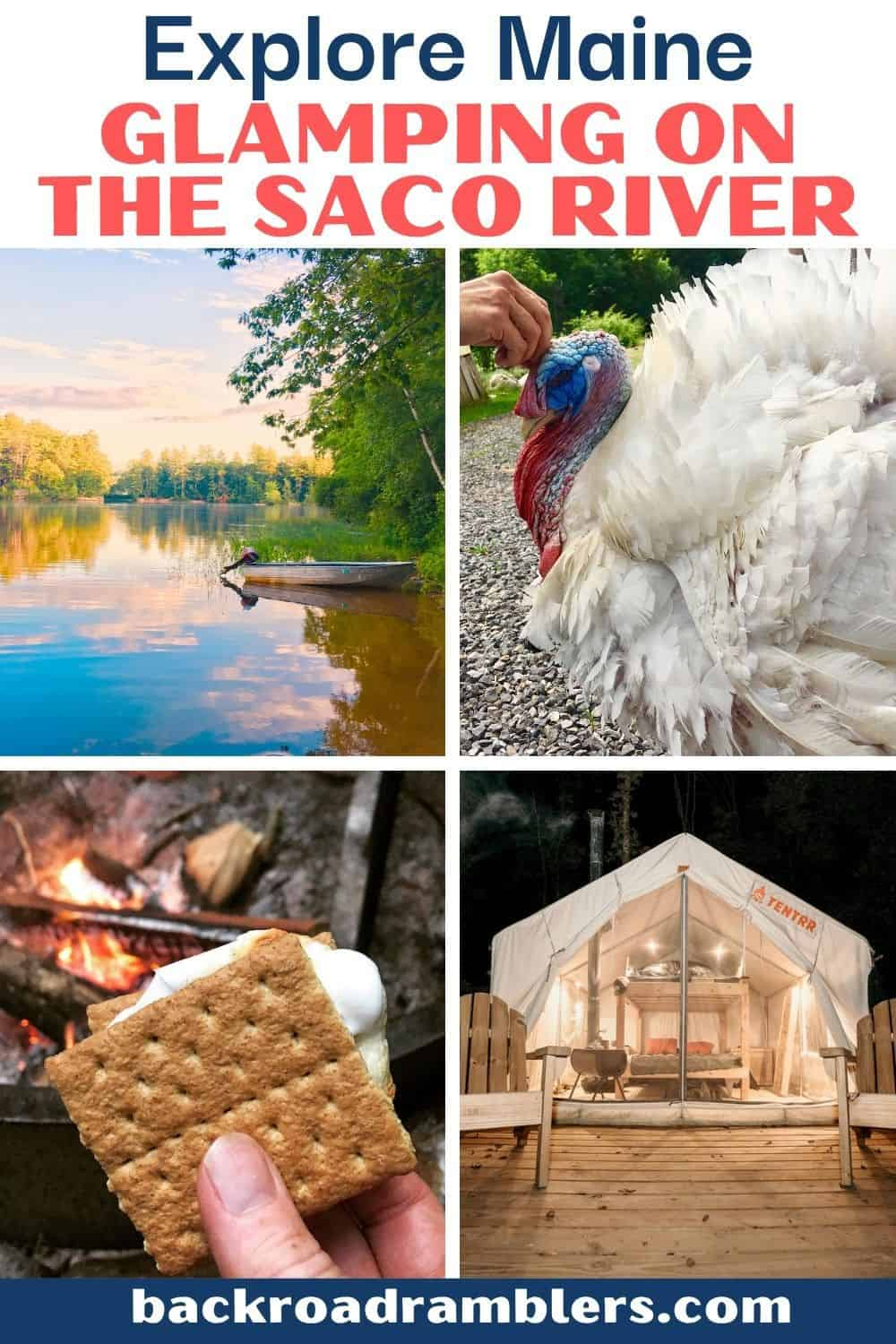 A collage of photos featuring a glamping spot on the Saco River in Maine. Text Overlay: Explore Maine! Glamping on the Saco River