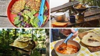A collage of photos featuring easy car camping meals for families.