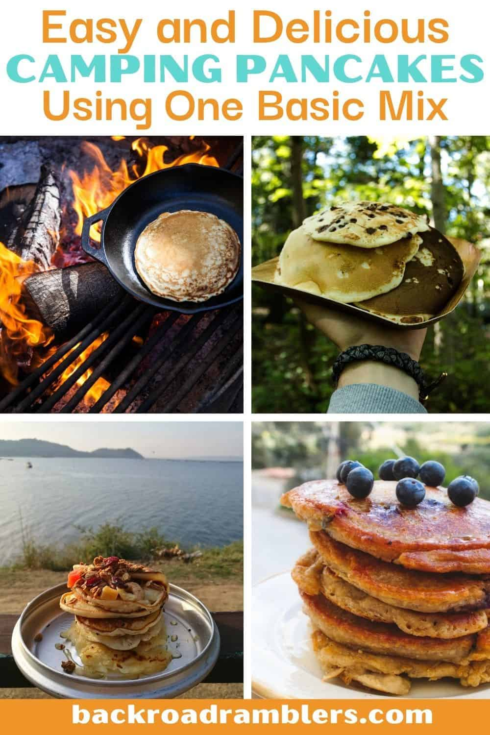 A collage of photos featuring camping pancakes.